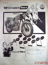 1960 Motor Cycle ADVERT - B.S.A. 'Top 10 Models' Range Print AD