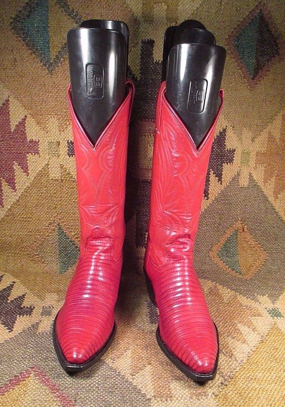 BILLY MARTIN'S  Justin Red Lizard Cowboy Boots, 5 1 2 B made in USA
