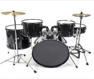 5-Piece-Black-Drum-Kit-FULL-SIZE-Complete-Set-Stool-Cymbals-Snare-Drums-Sticks