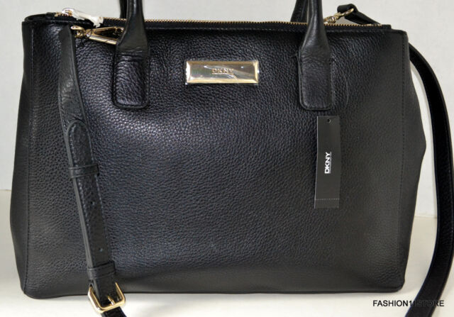 e5f7428d92c3 DKNY Black Soft Pebbled Ego Leather Large Double Zip Tote SHOPPER ...