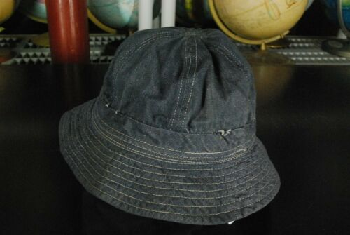 Vintage 60s Denim Jean Bucket Hat Navy Blue Boonie