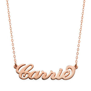 e745a9694 Image is loading Custom-Made-Carrie-Style-Nameplate-Necklace-in-Rose-