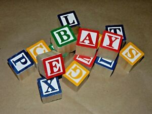 15-pc-Lot-New-Wood-Craft-1-1-8-034-Alphabet-Letter-Blocks-All-26-letters