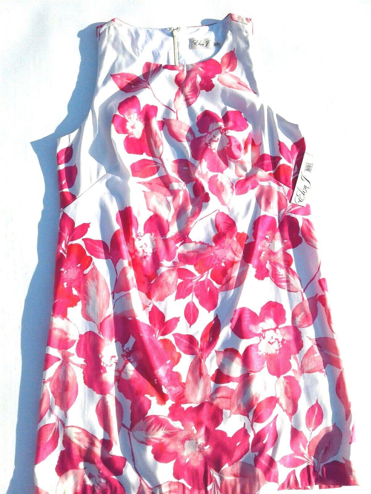 ELIZA J Weiß Rosa Floral Print Sheath Lined Plus Größe 16 Dress - NWT