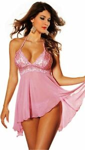 4e038710b WOW Sexy Pink Sheer babydoll nightie size 10 12 short pink ...
