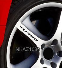 TURBO Decal Sticker Wheels Rims Racing Sport car Sticker Emblem logo BLACK 4pcs