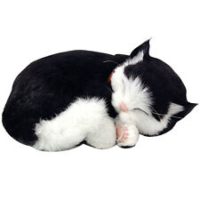 "NEW Perfect Petzzz Black And White Realistic ""Breathing"" Sleeping Kitten Pet Set"