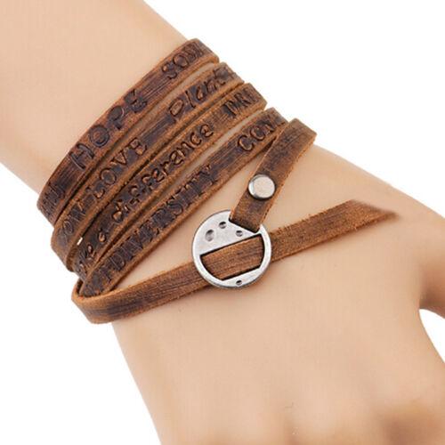 Femmes Hommes Vintage Multi-Couche Bracelet charms en cuir synthétique Bracelet avec Lettres G