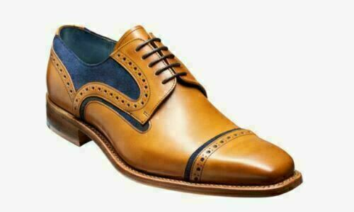 Mens Handmade shoes Two Tone bluee Suede Tan Leather Brogue Formal Wear Boots New