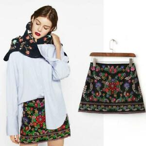 Women-039-s-embroidery-mini-skirt-embroidered-high-waist-A-line-dress-Zsell