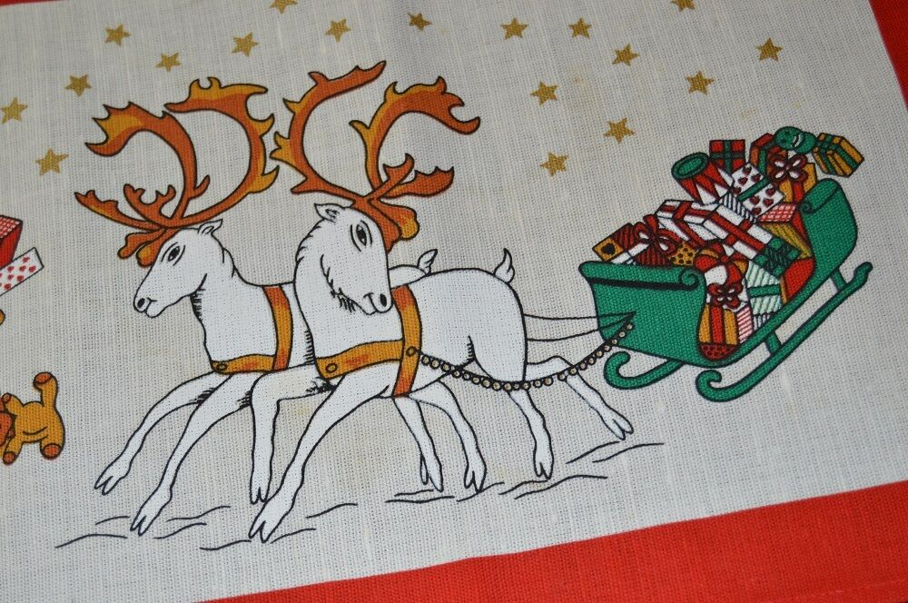 SANTA & blanc REINDEER  VTG GERMAN CHRISTMAS PRINT RUNNER +  ADVENT CALENDAR