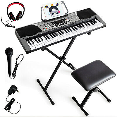 61-Key Electric Digital Piano Keyboard LED Screen w/ Stand&Stool Beginners Black    eBay