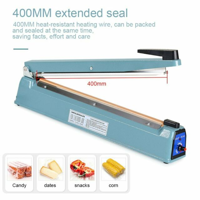 Impulse sealer 16 plastic bag heat seal machine 40 cm metal body