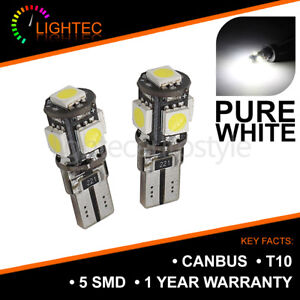 2 X 5 LED 5050 SMD T10 501 W5W SUPER BRIGHT NUMBER PLATE BULBS ERROR FREE CANBUS