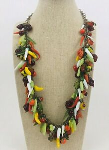 Amazing Vintage Venetian All Glass Fruit Salad Necklace and Matching Earrings