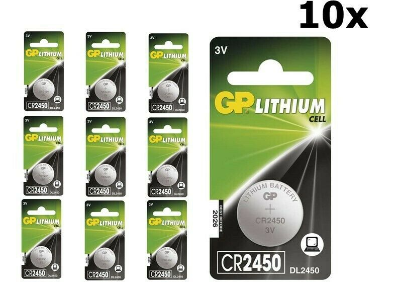 UK BS304-10x GP CR2450, DL2450, ECR2450 3V Lithium button cell battery 10 Pieces