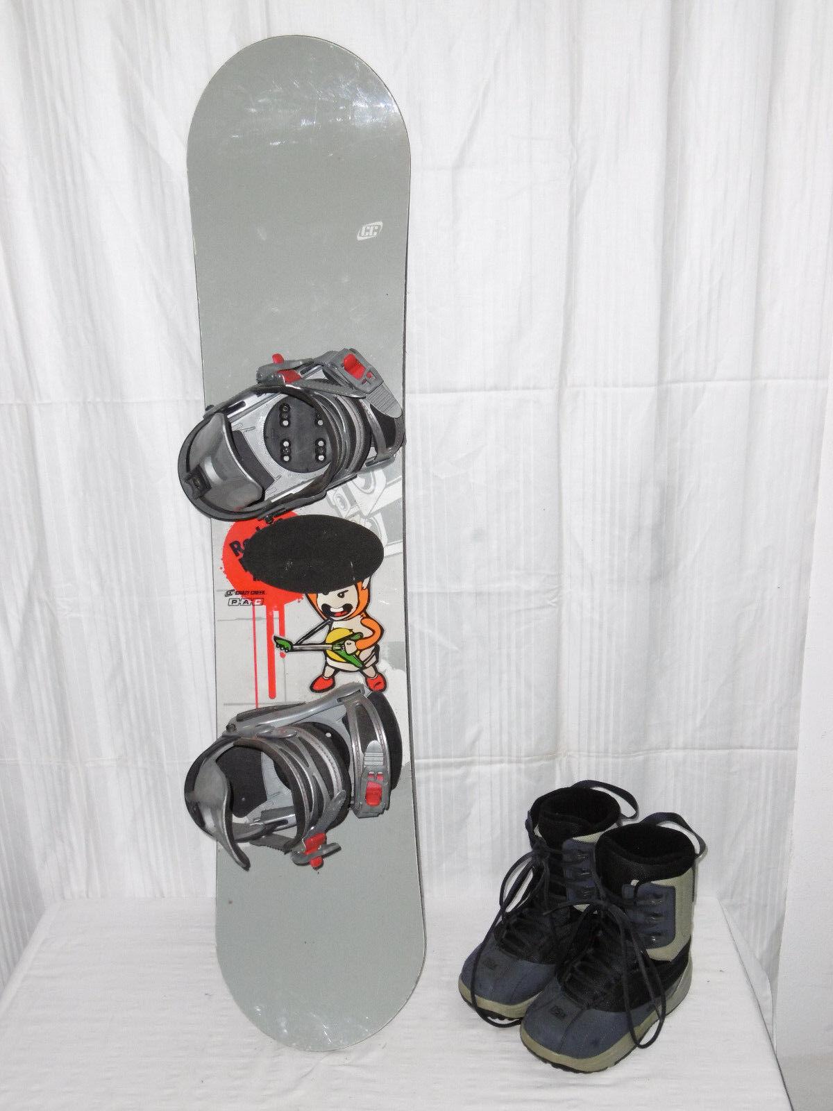 CRAZY CREEK   ROC   TOP JUNIOR FREESTYLE SNOWBOARD 118 CM + Stiefel GR.  37 IM SET