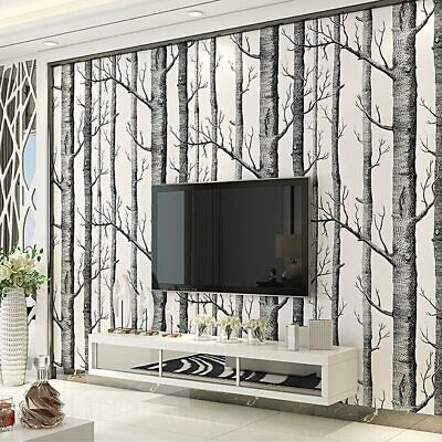 Black White Birch Tree Wallpaper Bedroom Modern Design Wall Paper Roll  Rustic | eBay