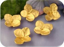 2 Hole Beads Flowers GOLD Hydrangeas ~ Brushed Gold Plated Metal Sliders QTY 5