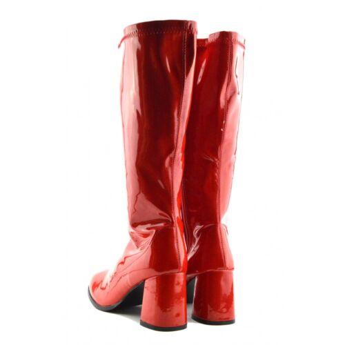 Ladies Fancy Dress Dancing Boots Retro Long Knee High Shiny Block Heel UK Sizes