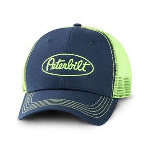 9668216743d Peterbilt Motors Trucks Neon Green   Blue Mesh Snapback Trucker Cap ...