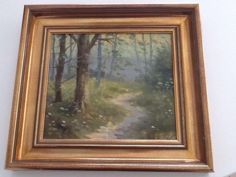 Oliemaleri, C . Lautrup, motiv: Landskab