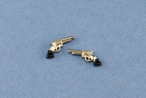 Set of 2 Dollhouse Miniature 1:12 Scale Metal Pistols Hand Guns #XV61033