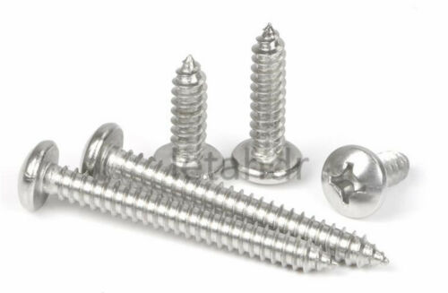 50//100pcs Stainless Steel M3.5 Cross Round Pan Head Phillips Self Tapping Screw