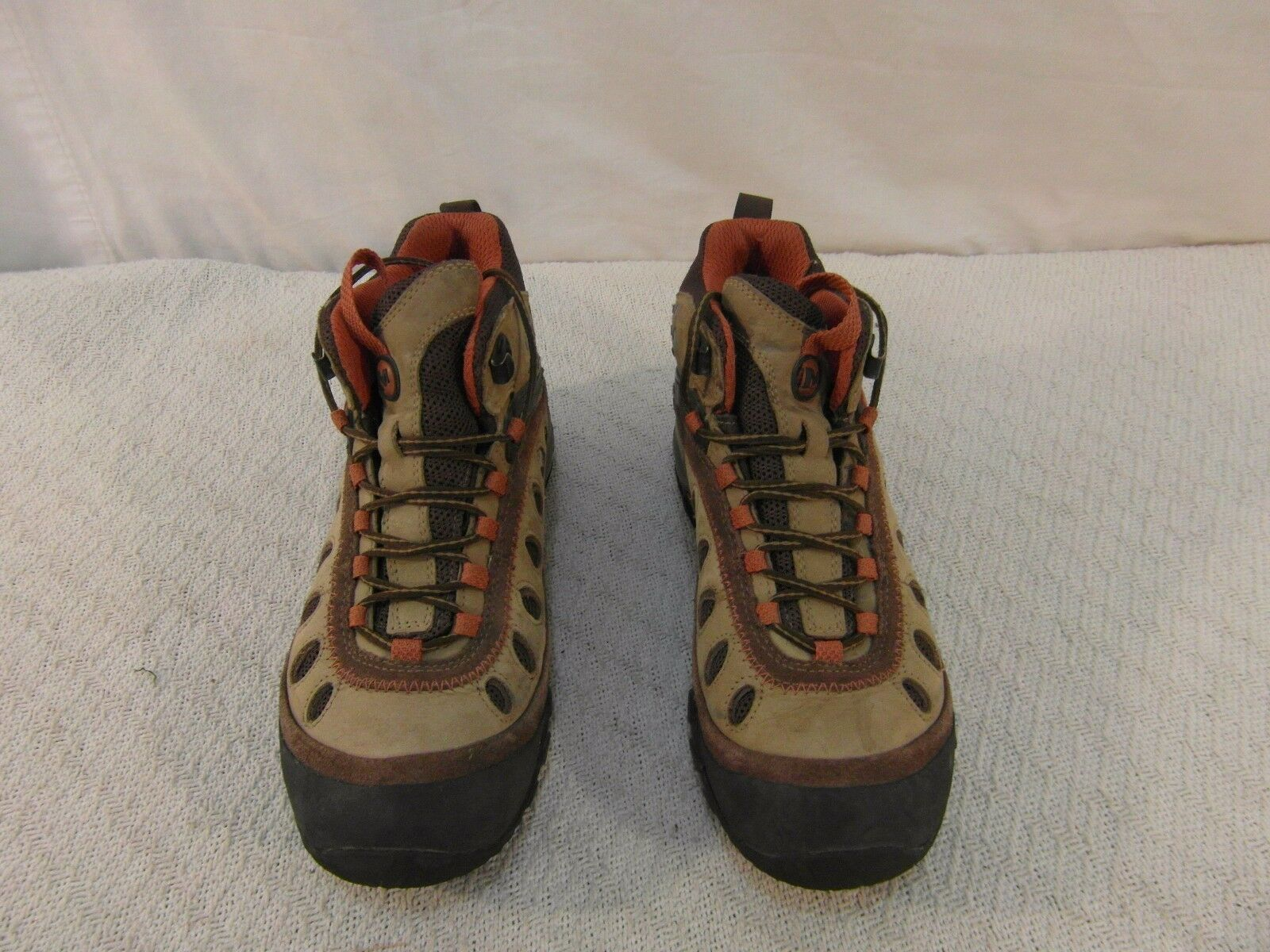Adult Women's Merrell Brown Orange Leather 9 Lace Up Hiking Shoes 33771
