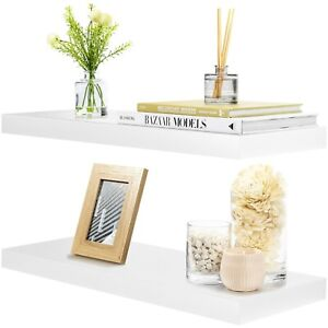 "Sorbus Floating Shelves - Hanging Wall Shelves Decoration - 24"" Long - (White)"