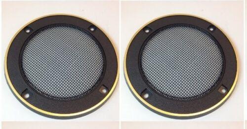 "4-5//8/"" ROUND SPEAKER GRILLS PLASTIC METAL MESH GOLD TRIM 10 PAIR #ZSGG31LRG-10PR"