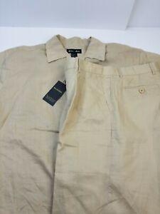 Men-039-s-100-Linen-Milano-Moda-Causal-Walking-Suit-S-S-and-Short-Pants