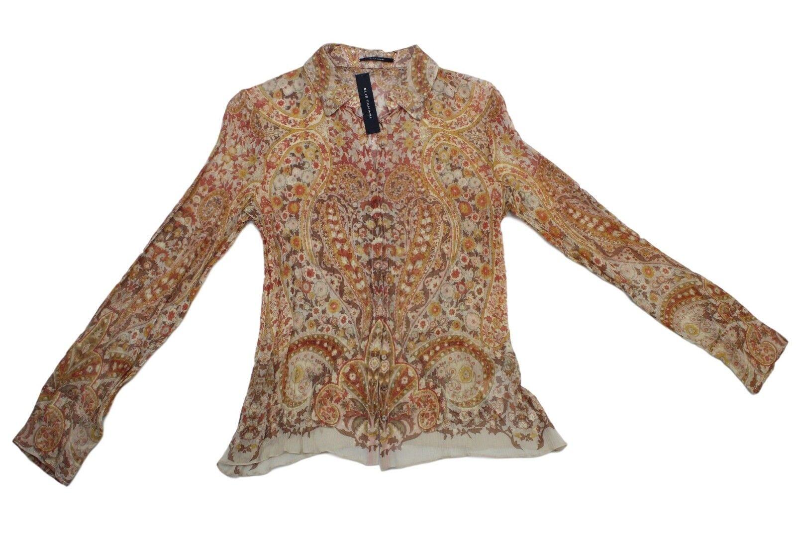 Camisa para mujer Ellie Tahari Trébol-Arenisca 100% Seda azulsa  SNAP delantera, M  buscando agente de ventas