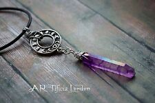 Moon Phases & Purple Aura Quartz Necklace Pagan Witch Lunar Crystal Jewellery