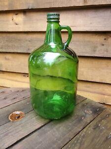 Details About Vintage Green Gl Wine Jug 4l Liter Decanter Bottle With Handle And Cap