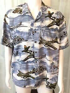 Kalaheo-Hawaiian-Shirt-XL-WWII-Flying-Fortress-Aircraft-Bomber-Aviation-B17-Palm