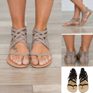 Women Ankle Cross Strap Open Toe Flat Gladiator Sandals