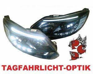 LIGHT-TUBE-SCHEINWERFER-FORD-FOCUS-III-MK3-11-14-SCHWARZ-TFL-OPTIK-LINKS-RECHTS