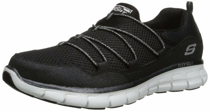 Skechers Synergy-Sparkle & Shine Black White Memory Foam Walking shoes