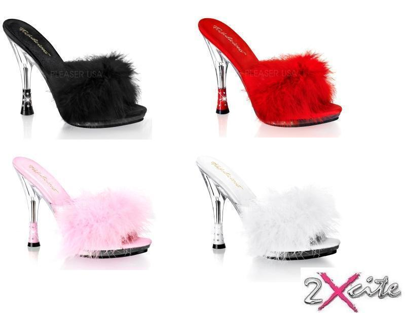 PLEASER 4  HEEL GLITZY 501-8 FLUFFY MULES SLIP ON SLIPPERS SANDALS RHINESTONES