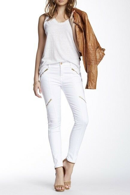 NWT  7 For All Mankind Panel Zip Moto Jean, white SIZE 27  (AU8125660S) E130