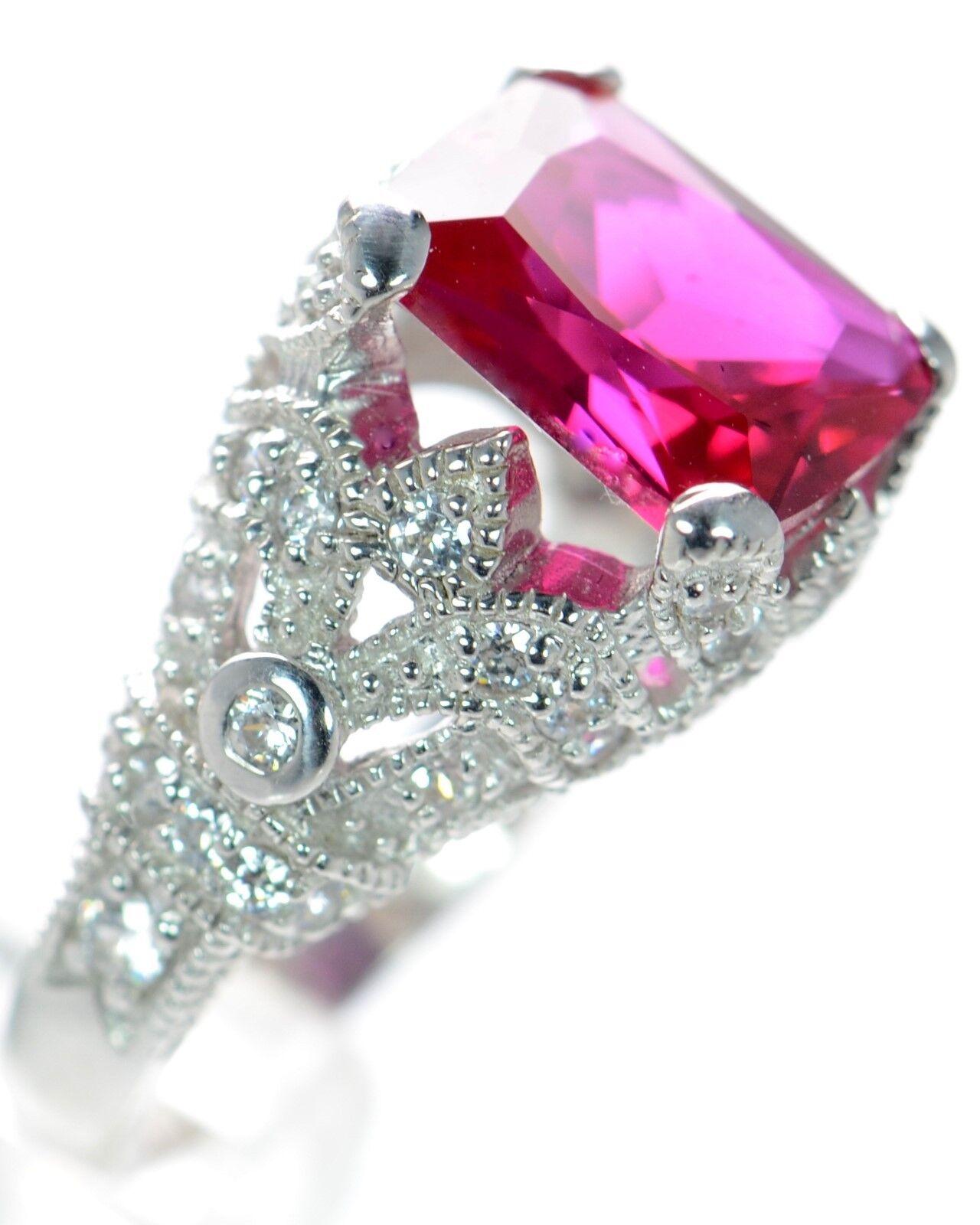 Joseph Esposito Diamonique .925 Sterling  Simulated Ruby Ring S-6   On Sale