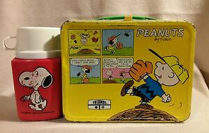 """Peanuts"" Lunch Box with Thermos Aladdin Industries 1965"