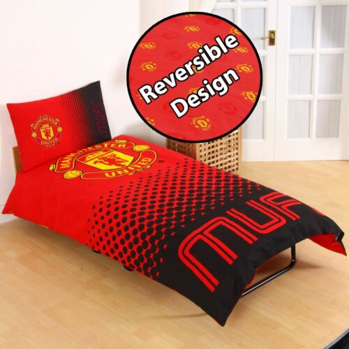 MANCHESTER UNITED FC SINGLE AND DOUBLE DUVET COVER SETS BEDROOM BEDDING FREE P+P