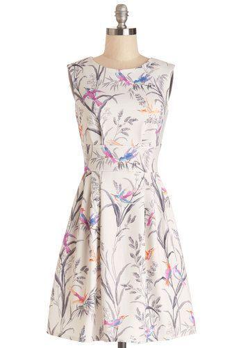 Closet London Modcloth dress in Birds UK10 cream stretch watercolor small medium