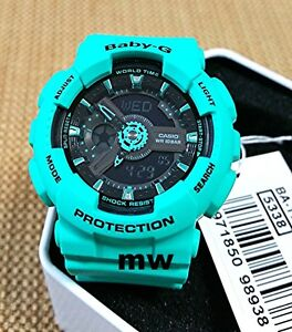 7f8a0452cb Details about BA-111-3A Green Black Analog Digital Resin Band Baby-G Neon  200M Watch Ladies