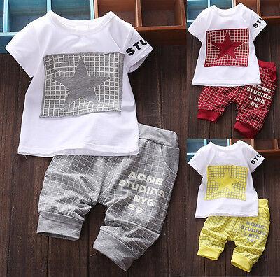 Baby Boy Kid Summer Short Sleeve Shirt Sportswear T-shirt Top Short Pants Outfit