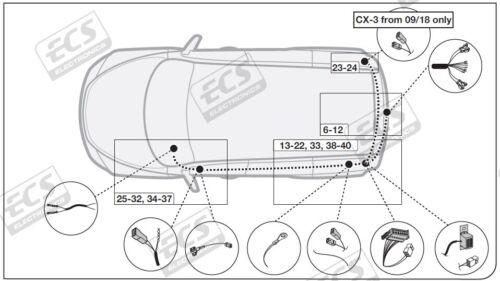 For Mazda CX-3 Tow Bar Wiring Jun 2015 /> 2020 13 Pin DEDICATED Towing Electrics
