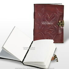 Medieval Renaissance Twin Dragons Leather Handmade Journal Diary Notepad w/ Lock