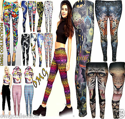 Womens New Ladies Comic Superman Batman Super Hero Leggings Pants Size / 8-26